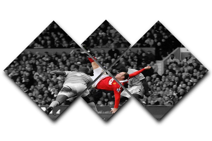 Wayne Rooney Bicycle Kick 4 Square Multi Panel Canvas