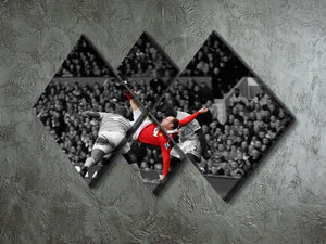 Wayne Rooney Bicycle Kick 4 Square Multi Panel Canvas - Canvas Art Rocks - 2