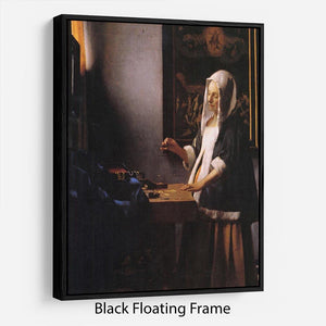 Weights by Vermeer Floating Frame Canvas - Canvas Art Rocks - 1