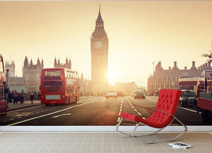 Westminster Bridge at sunset red bus Wall Mural Wallpaper - Canvas Art Rocks - 2