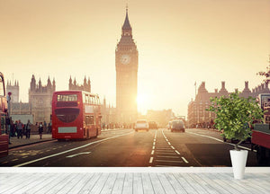 Westminster Bridge at sunset red bus Wall Mural Wallpaper - Canvas Art Rocks - 4