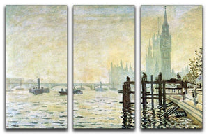 Westminster Bridge in London by Monet Split Panel Canvas Print - Canvas Art Rocks - 4