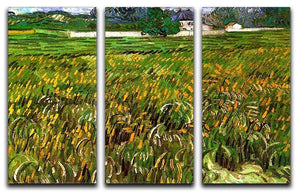 Wheat Field at Auvers with White House by Van Gogh 3 Split Panel Canvas Print - Canvas Art Rocks - 4