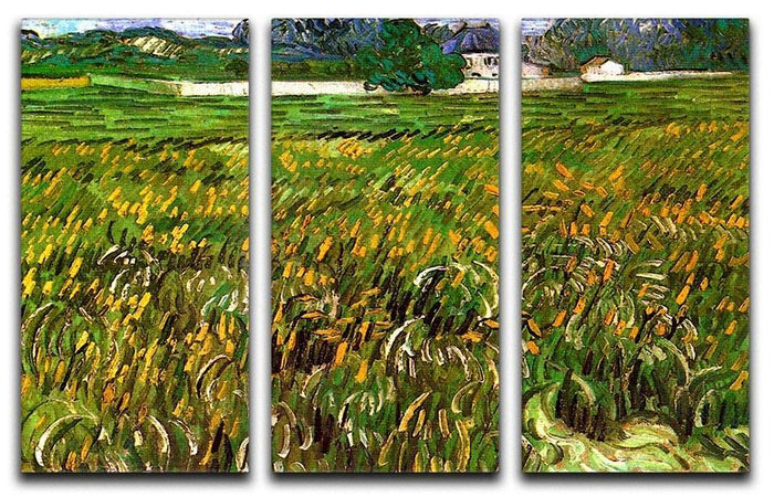 Wheat Field at Auvers with White House by Van Gogh 3 Split Panel Canvas Print