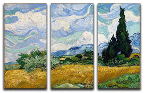 Wheat Field with Cypresses 3 Split Panel Canvas Print - Canvas Art Rocks - 4