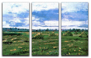 Wheat Fields with Stacks by Van Gogh 3 Split Panel Canvas Print - Canvas Art Rocks - 4