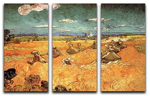 Wheat Stacks with Reaper by Van Gogh 3 Split Panel Canvas Print - Canvas Art Rocks - 4
