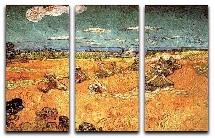 Wheat Stacks with Reaper by Van Gogh 3 Split Panel Canvas Print