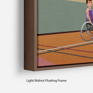 Wheelchairs playing basketball Floating Frame Canvas