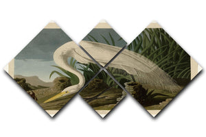 White Heron by Audubon 4 Square Multi Panel Canvas - Canvas Art Rocks - 1