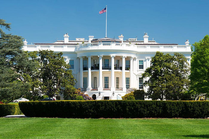 White House on deep blue sky background Wall Mural Wallpaper