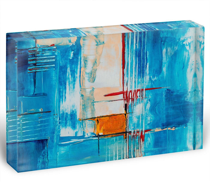 White Red and Blue Abstract Painting Acrylic Block