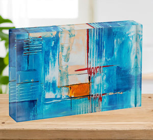 White Red and Blue Abstract Painting Acrylic Block - Canvas Art Rocks - 2