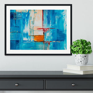 White Red and Blue Abstract Painting Framed Print - Canvas Art Rocks - 1