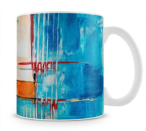 White Red and Blue Abstract Painting Mug - Canvas Art Rocks - 1