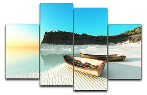White Sand Boats 4 Split Panel Canvas - Canvas Art Rocks - 1