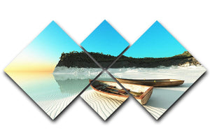 White Sand Boats 4 Square Multi Panel Canvas - Canvas Art Rocks - 1