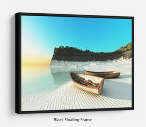 White Sand Boats Floating Frame Canvas - Canvas Art Rocks - 1