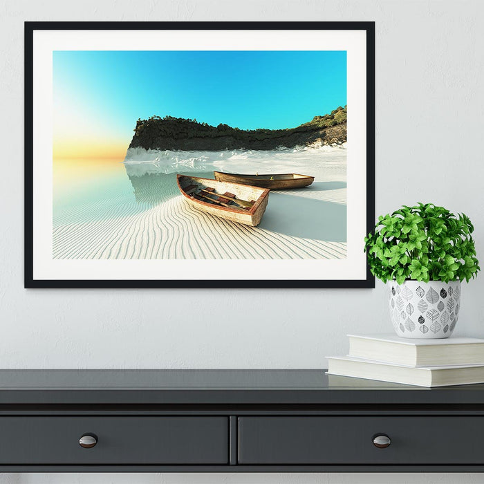 White Sand Boats Framed Print