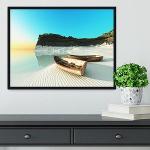 White Sand Boats Framed Print - Canvas Art Rocks - 2