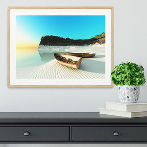 White Sand Boats Framed Print - Canvas Art Rocks - 3