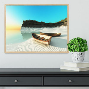 White Sand Boats Framed Print - Canvas Art Rocks - 4