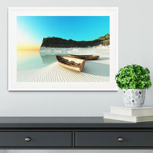White Sand Boats Framed Print - Canvas Art Rocks - 5
