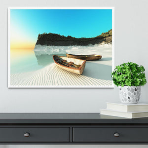 White Sand Boats Framed Print - Canvas Art Rocks -6