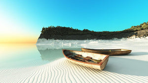 White Sand Boats Wall Mural Wallpaper - Canvas Art Rocks - 1