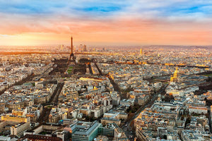Wide angle view of Paris at twilight Wall Mural Wallpaper - Canvas Art Rocks - 1