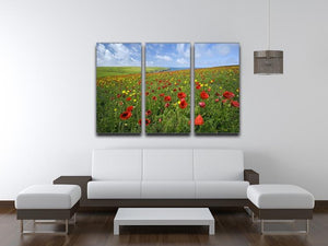 Wild Flower Meadow 3 Split Panel Canvas Print - Canvas Art Rocks - 3