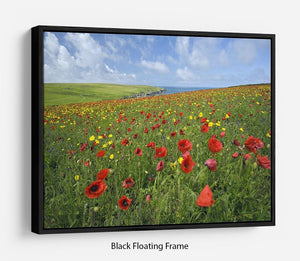 Wild Flower Meadow Floating Frame Canvas - Canvas Art Rocks - 1
