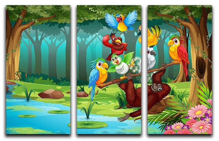 Wild animals in the forest illustration 3 Split Panel Canvas Print