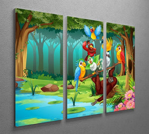 Wild animals in the forest illustration 3 Split Panel Canvas Print - Canvas Art Rocks - 2