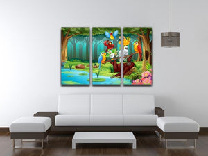 Wild animals in the forest illustration 3 Split Panel Canvas Print - Canvas Art Rocks - 3