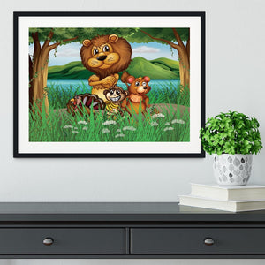 Wild animals in the jungle Framed Print - Canvas Art Rocks - 1