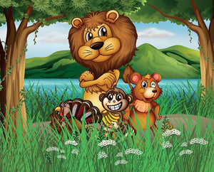 Wild animals in the jungle Wall Mural Wallpaper - Canvas Art Rocks - 1