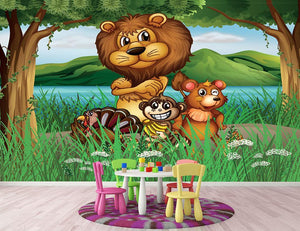 Wild animals in the jungle Wall Mural Wallpaper - Canvas Art Rocks - 2