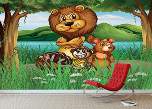 Wild animals in the jungle Wall Mural Wallpaper - Canvas Art Rocks - 3