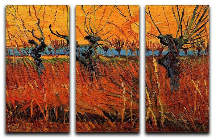Willows at Sunset by Van Gogh 3 Split Panel Canvas Print