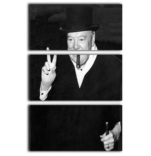 Winston Churchill giving the victory sign 3 Split Panel Canvas Print - Canvas Art Rocks - 1
