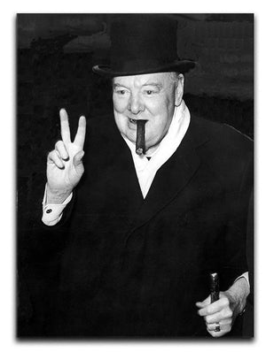 Winston Churchill giving the victory sign Canvas Print or Poster  - Canvas Art Rocks - 1