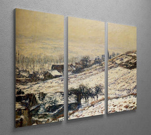 Winter At Giverny 1885 by Monet Split Panel Canvas Print - Canvas Art Rocks - 4