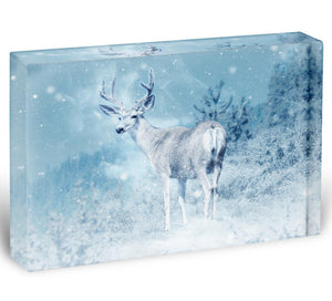 Winter Moose Acrylic Block - Canvas Art Rocks - 1