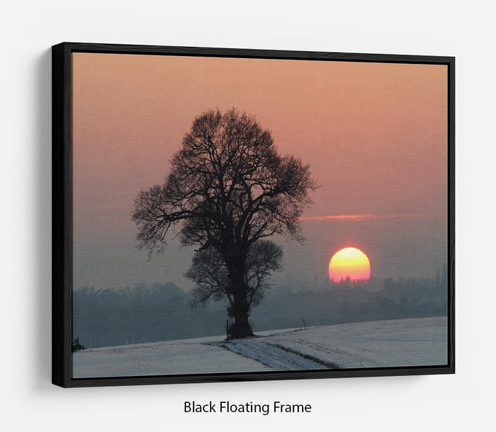 Winter Sunset Floating Frame Canvas