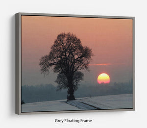 Winter Sunset Floating Frame Canvas - Canvas Art Rocks - 3
