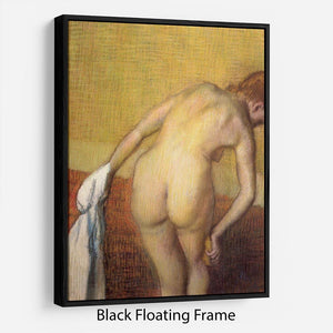 Woman Drying with towel and sponge by Degas Floating Frame Canvas - Canvas Art Rocks - 1