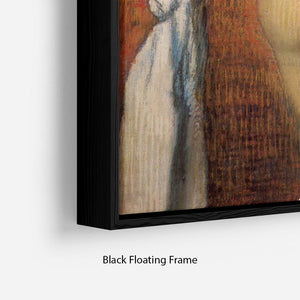 Woman Drying with towel and sponge by Degas Floating Frame Canvas - Canvas Art Rocks - 2
