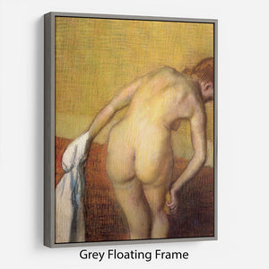 Woman Drying with towel and sponge by Degas Floating Frame Canvas - Canvas Art Rocks - 3