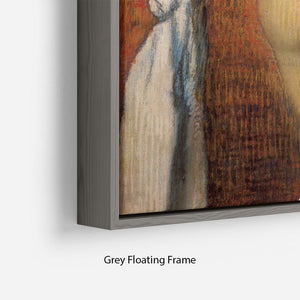 Woman Drying with towel and sponge by Degas Floating Frame Canvas - Canvas Art Rocks - 4